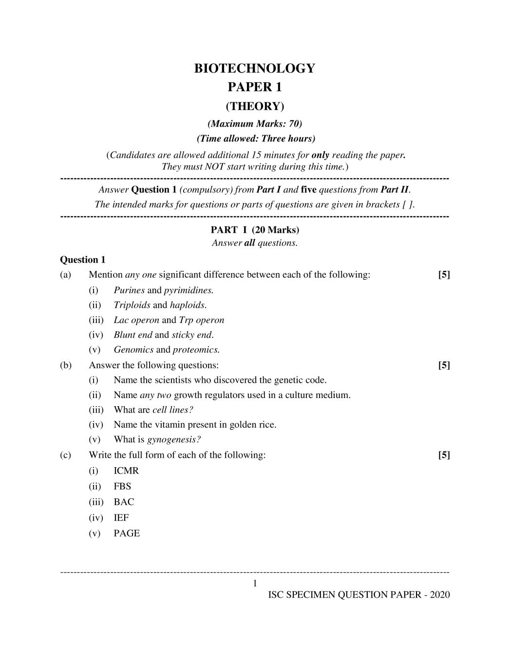 ISC Class 12 Sample Paper 2020 - Biotechnology Specimen Question Paper
