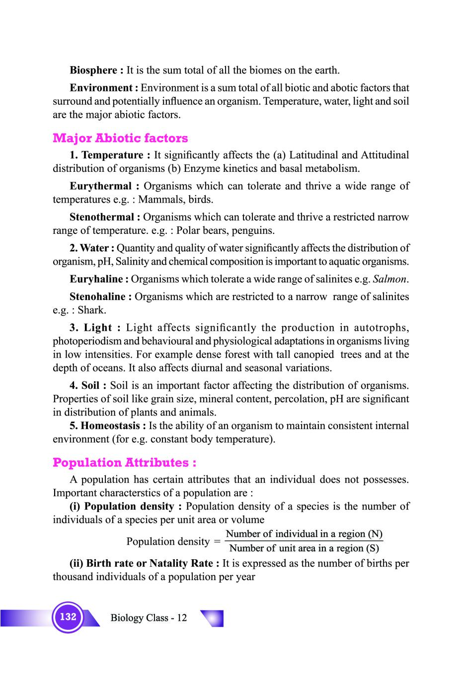 Organism and population ncert notes