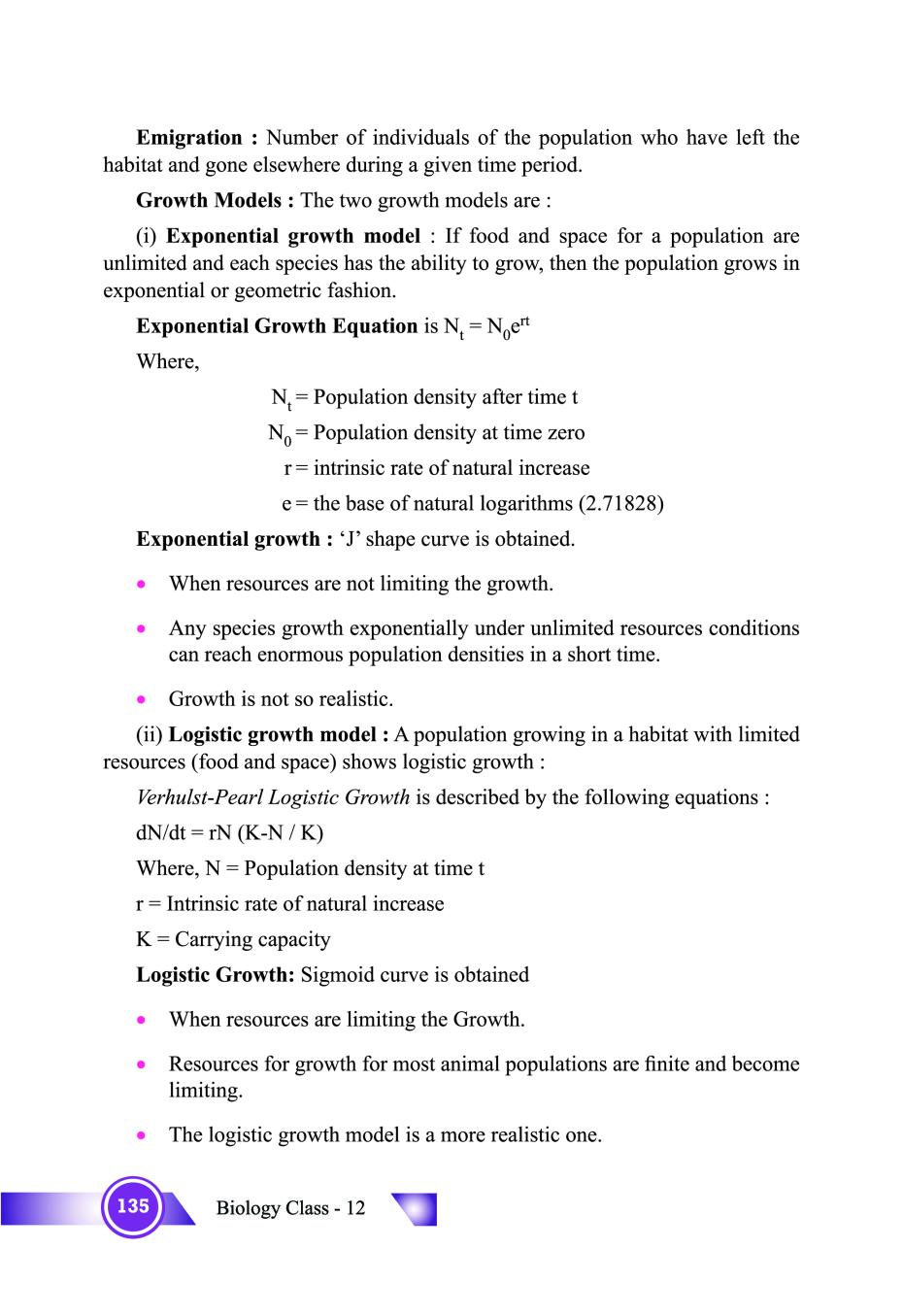 Class 12 Biology Notes for Organisms and Population