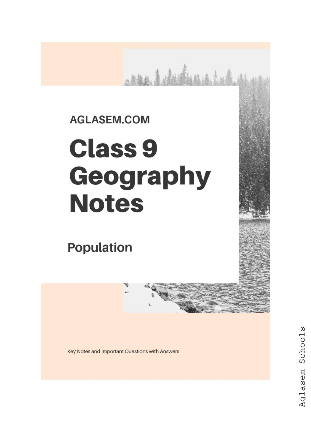 Class 9 Social Science (Geography) Population Notes, Important Questions & Practice Paper