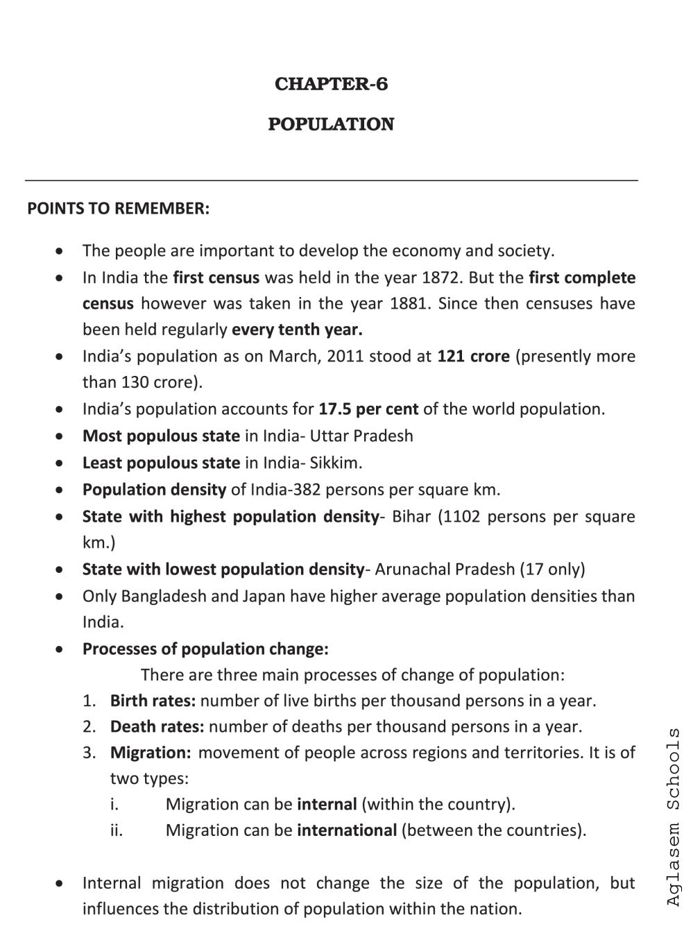 Class 9 Social Science (Geography) Population Notes