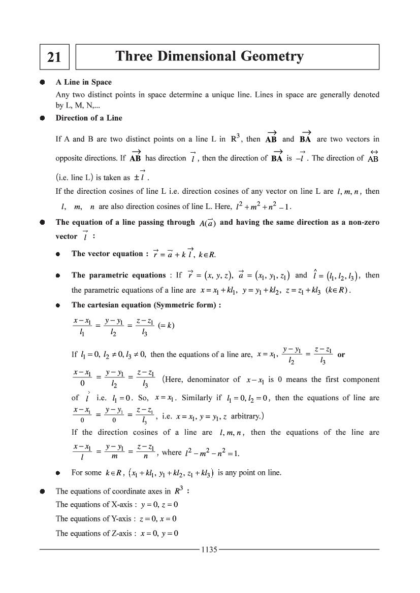 JEE Maths Question Bank for Three Dimensional Geometry