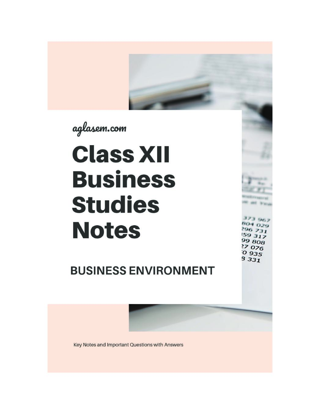 Class 12 Business Studies Notes for Business Environment