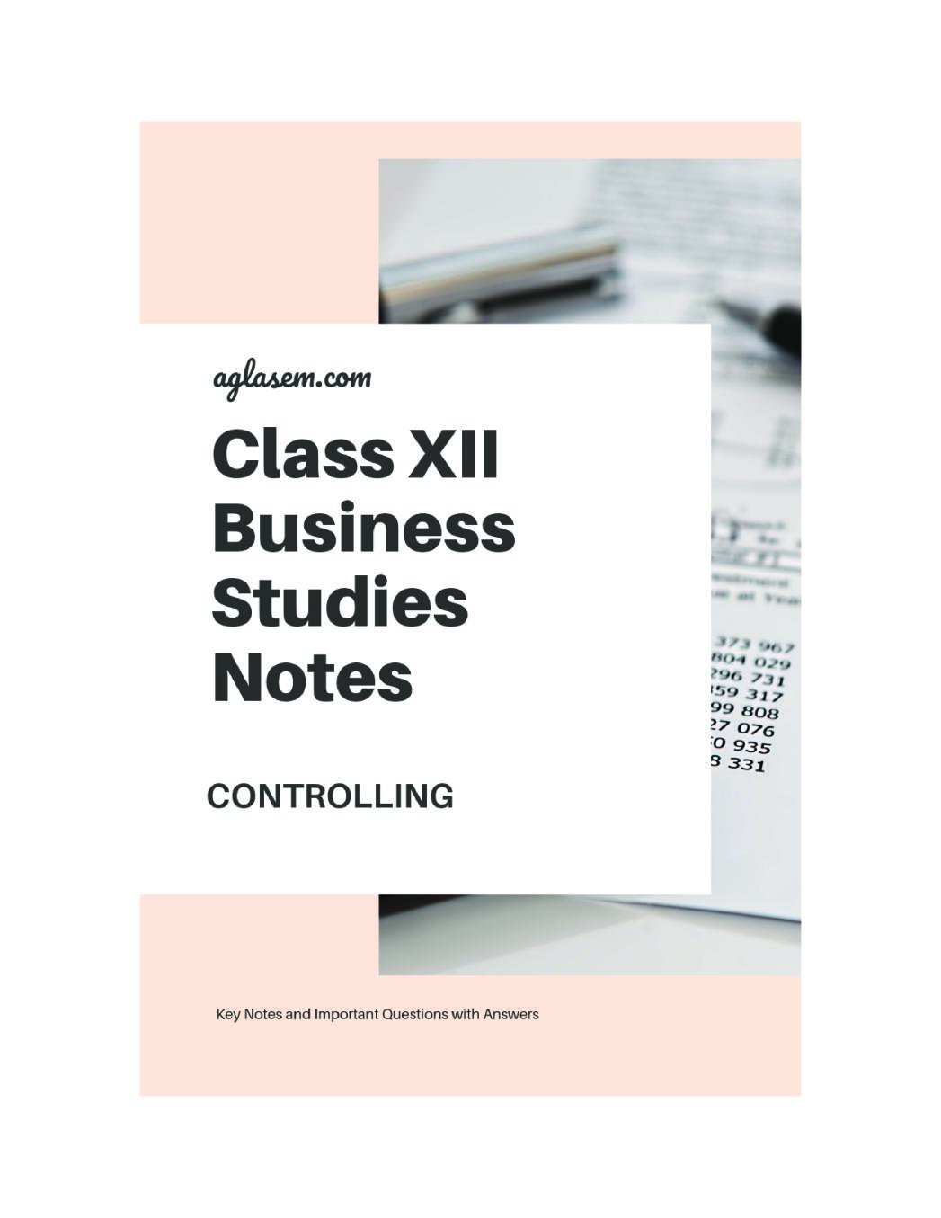 Class 12 Business Studies Notes for Controlling