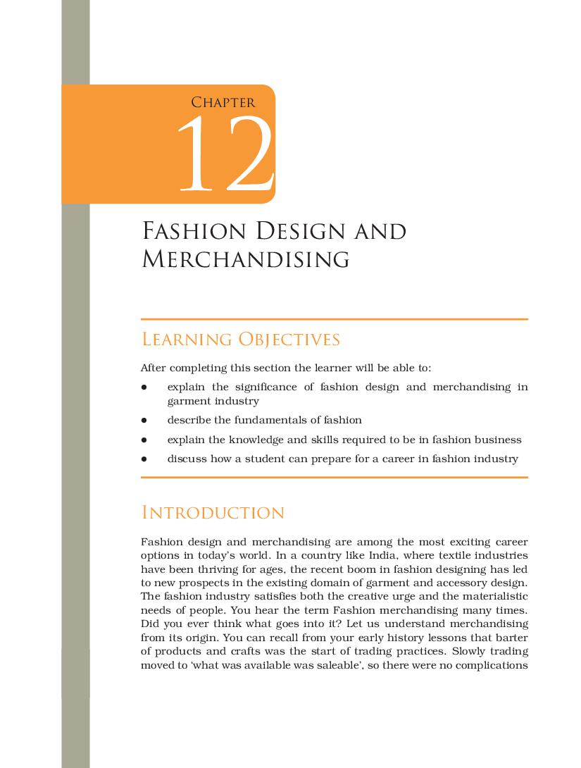 Ncert Book Class 12 Home Science Chapter 12 Fashion Design And Merchandising Aglasem Schools