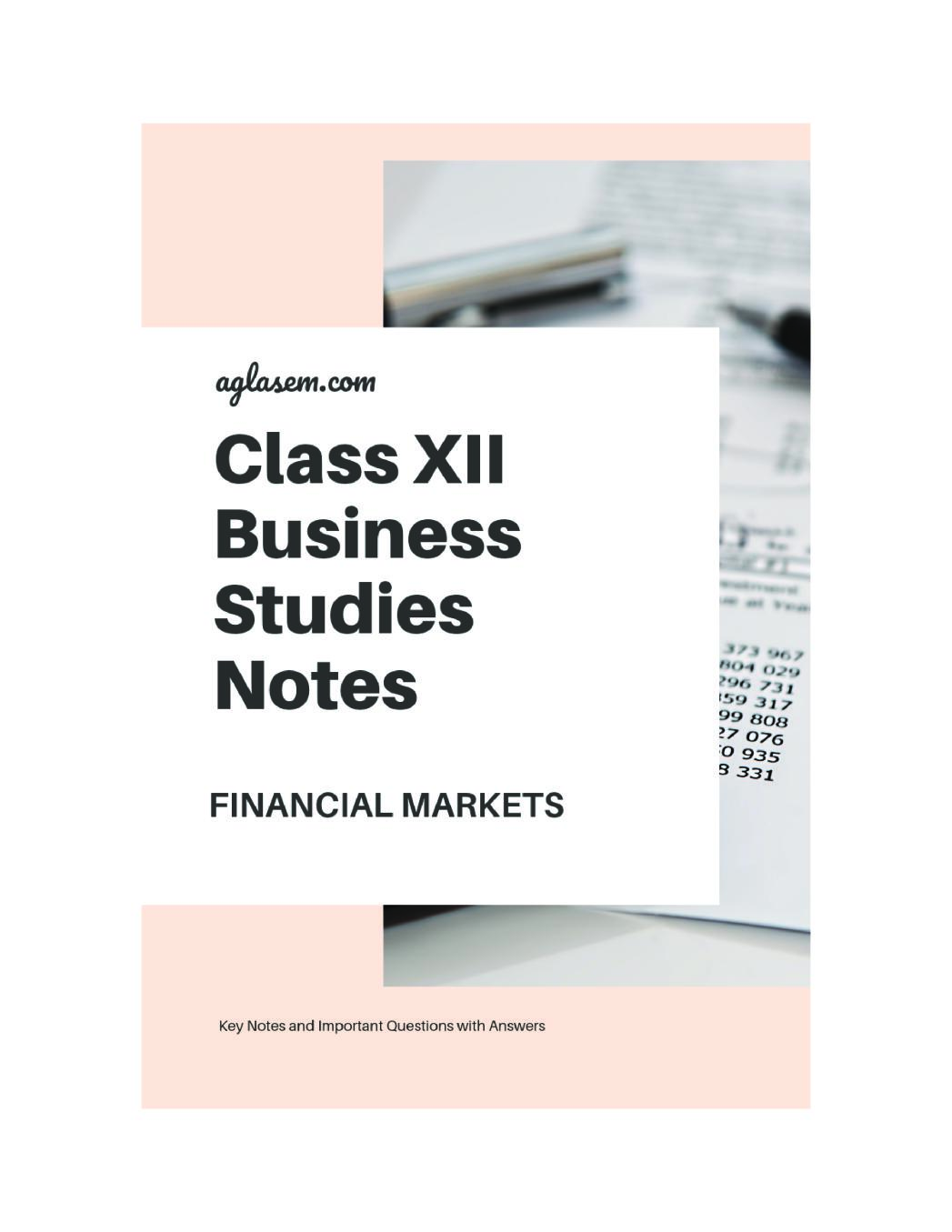 Class 12 Business Studies Notes for Financial Markets