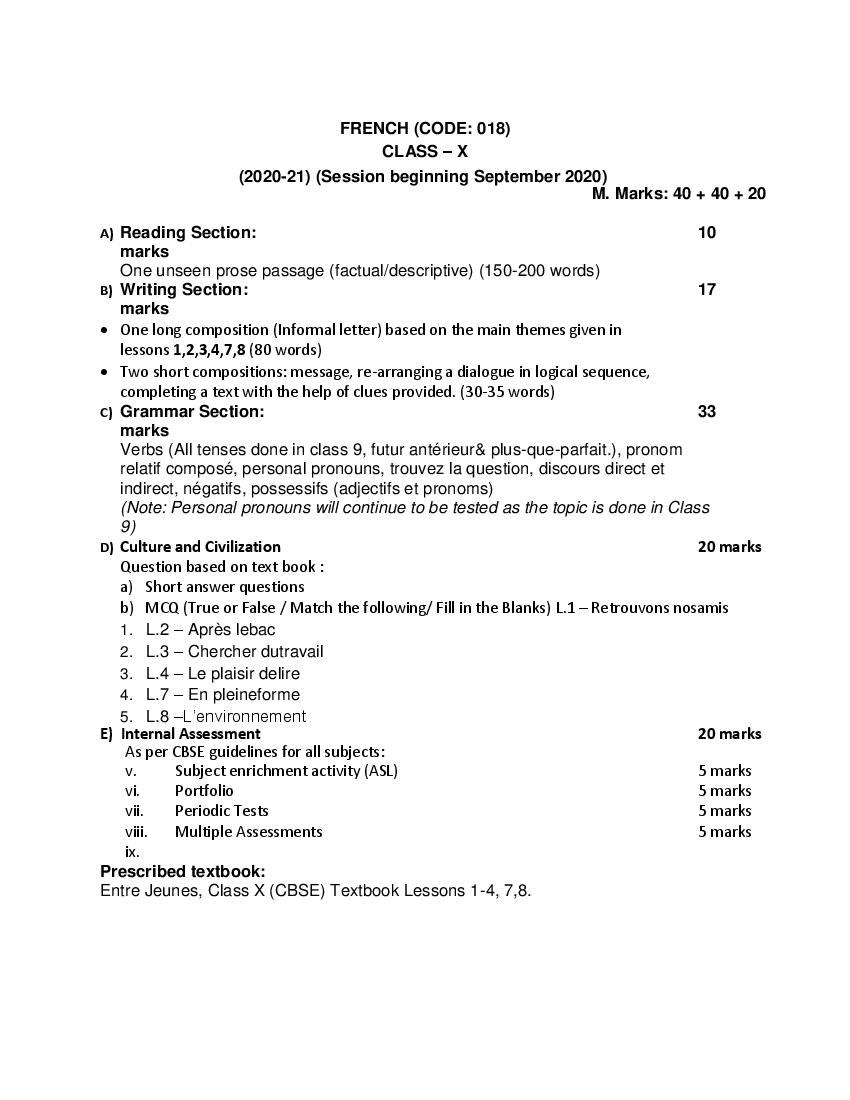 CBSE Syllabus for Class 10 French 2020-21 [Revised]