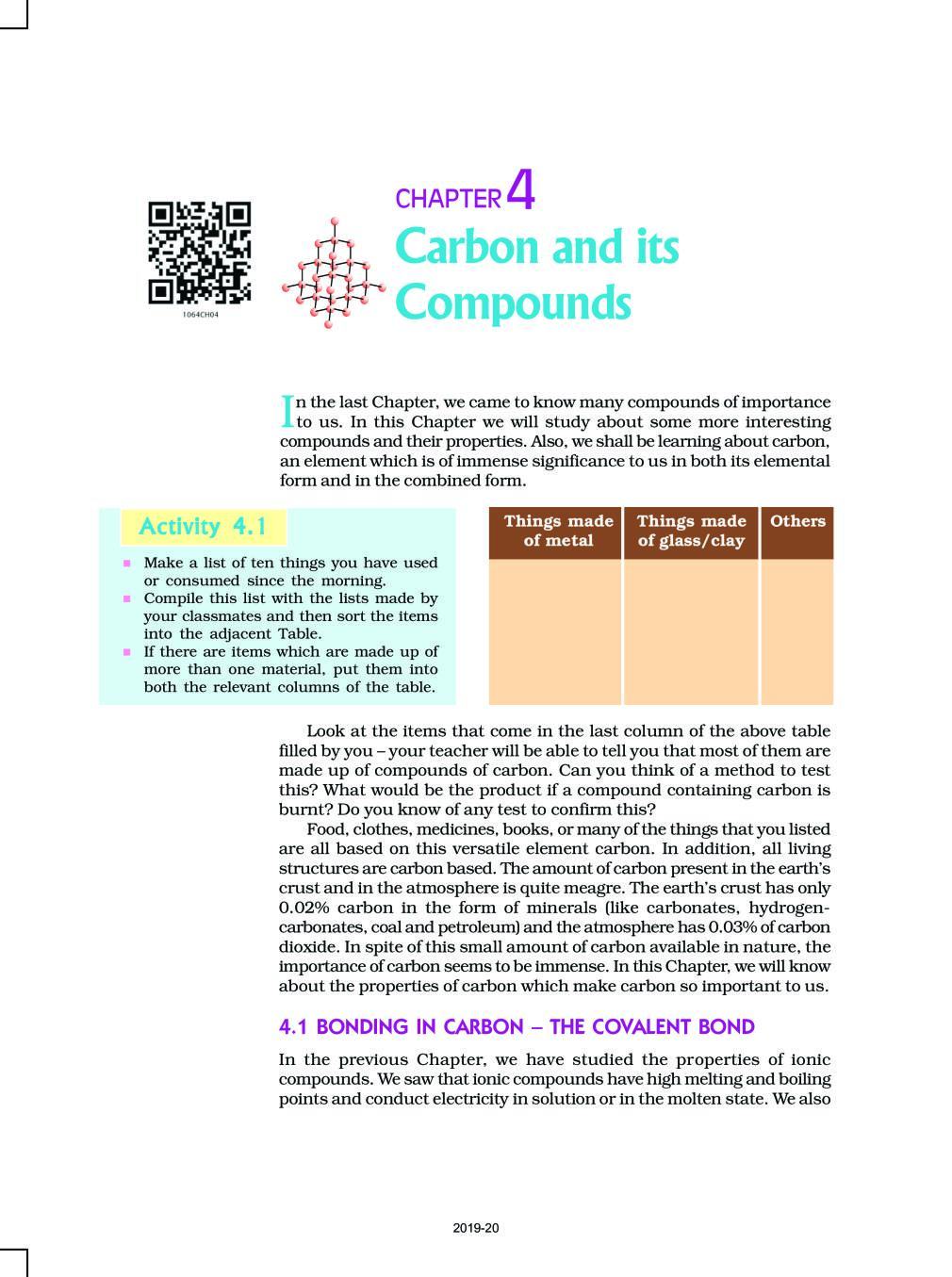 NCERT Book Class 10 Science Chapter 4 Carbon and its Compounds