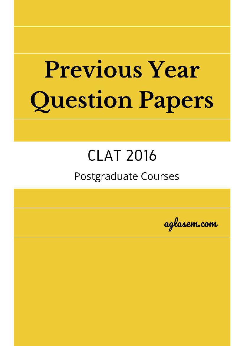 CLAT LLM 2016 Question Paper with Answers