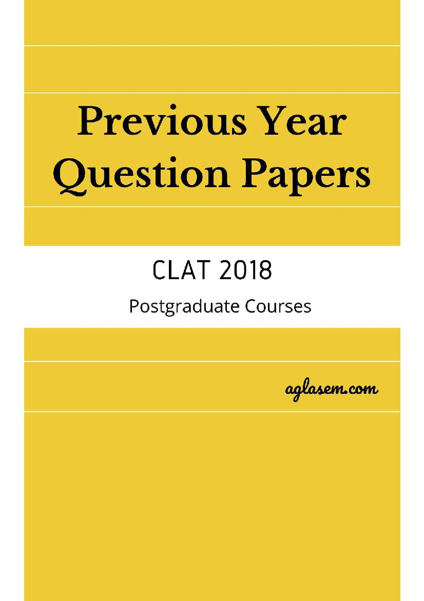 CLAT LLM 2018 Question Paper with Answers