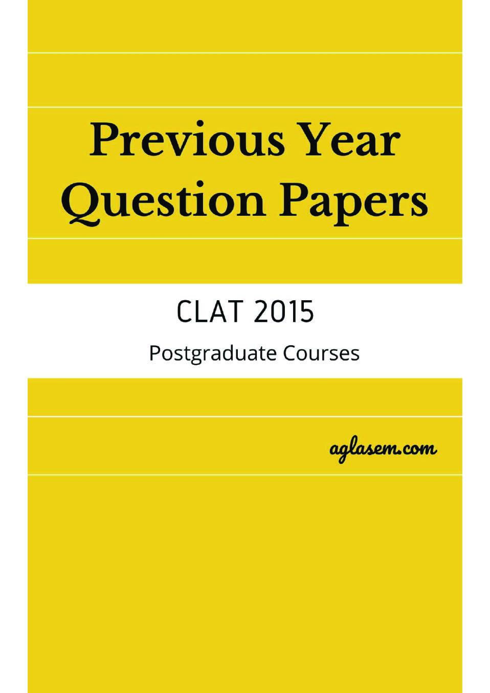 CLAT LLM 2015 Question Paper with Answers