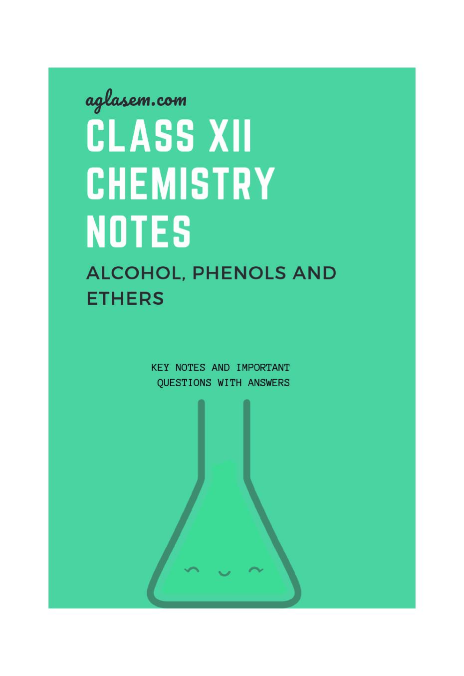 Class 12 Chemistry Notes for Alcohol Phenol and Ethers