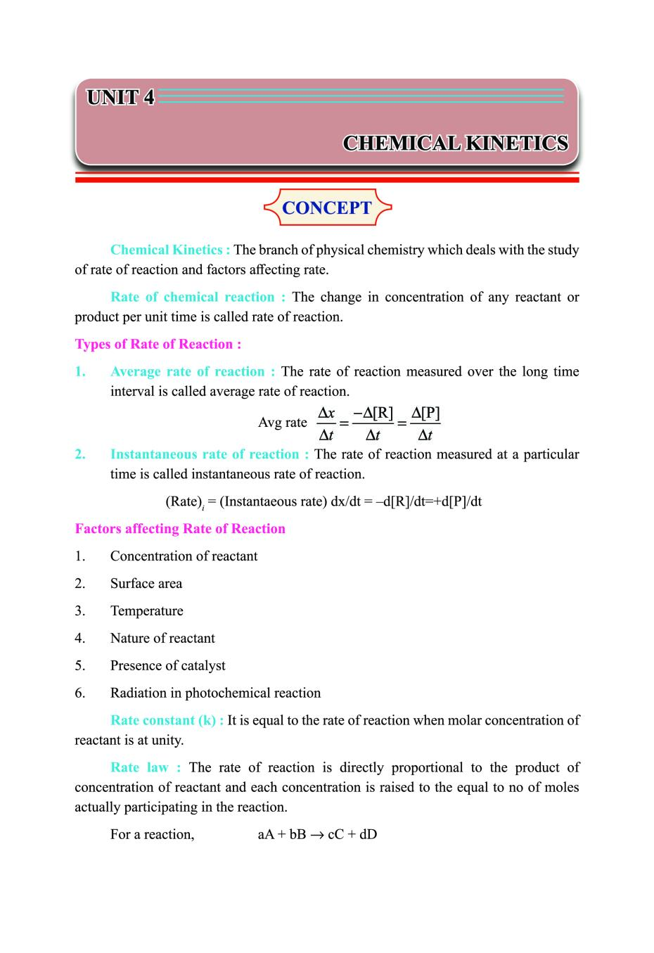 Class 12 Chemistry Notes for Chemical Kinetics – AglaSem Schools