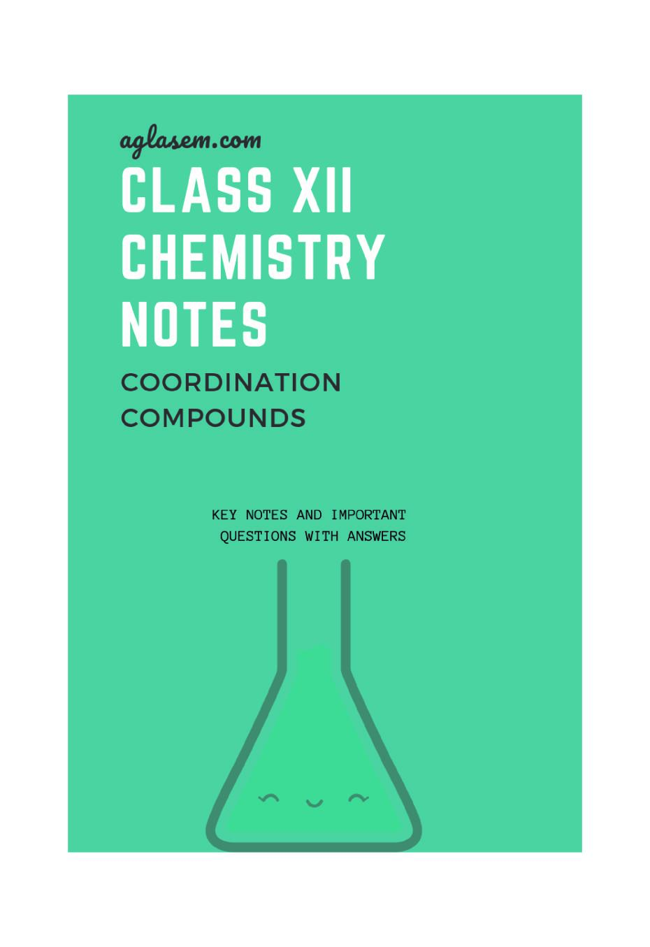 Class 12 Chemistry Notes for Coordination Compounds