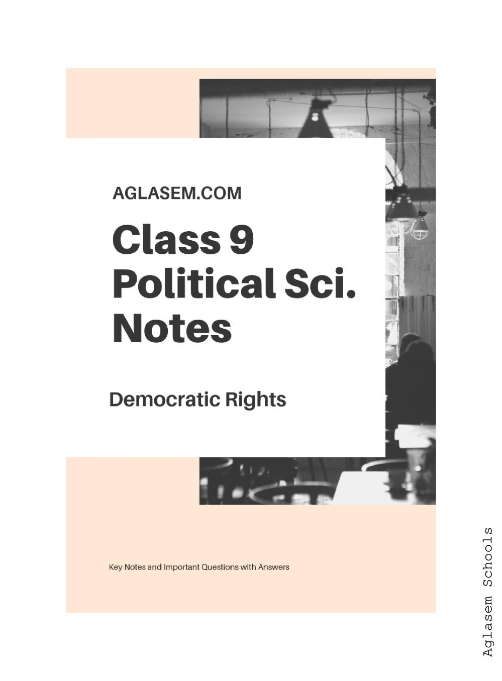 Class 9 Social Science (Political Science / Civics) Democratic Rights Notes, Important Questions & Practice Paper
