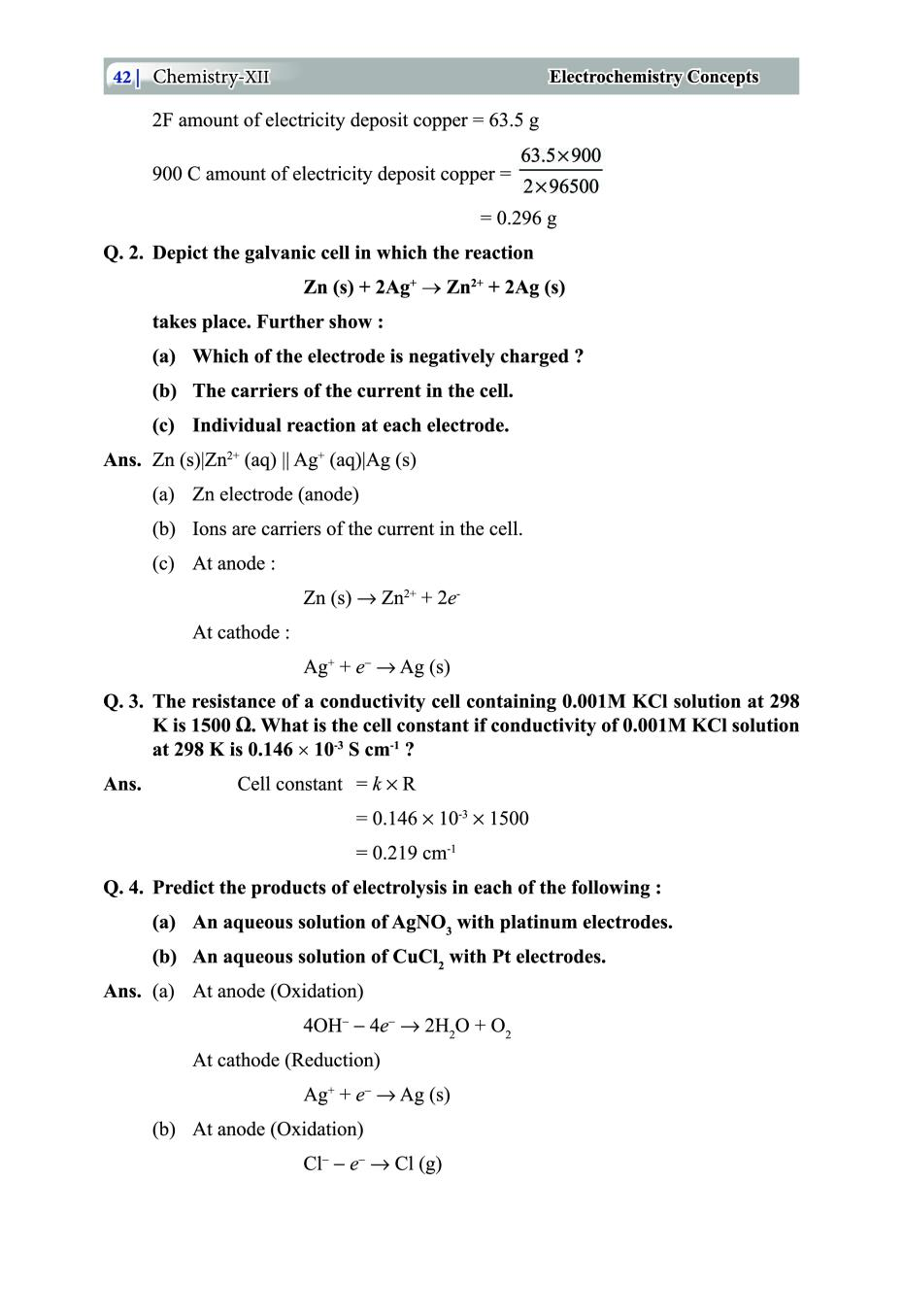 Class 12 Chemistry Notes for Electrochemistry Concepts
