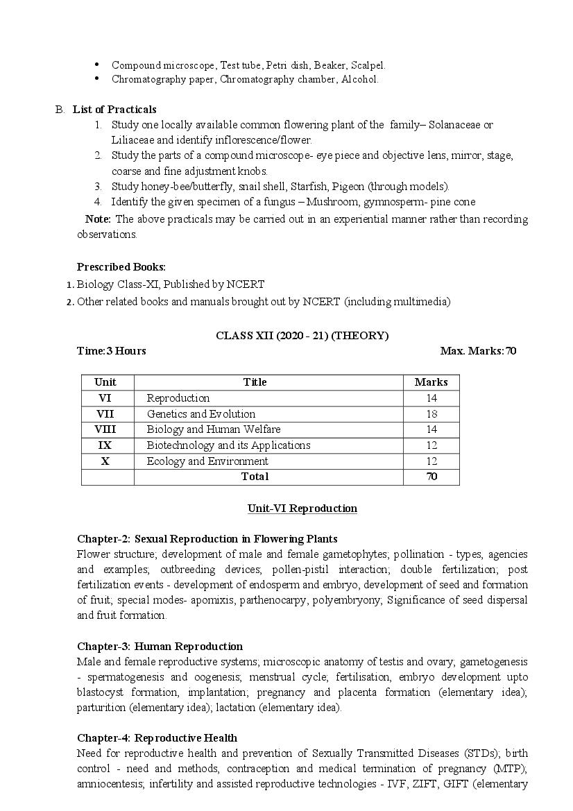 CBSE Syllabus for Class 12Science 2020-21 [Revised]