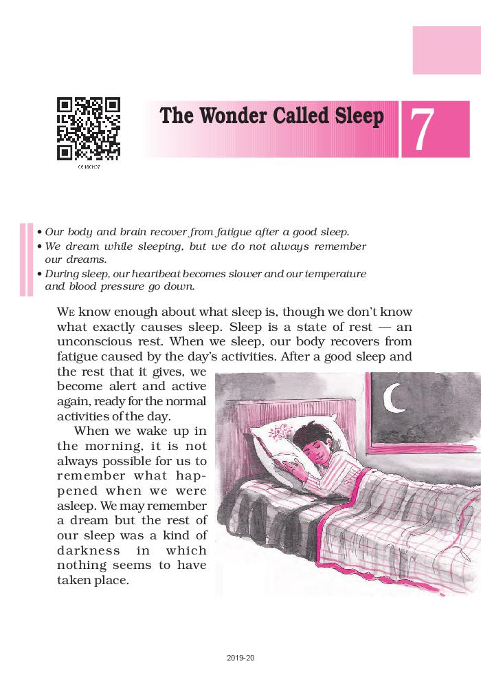 NCERT Book Class 6 English A Pact With The Sun Chapter 7 The Wonder Called Sleep