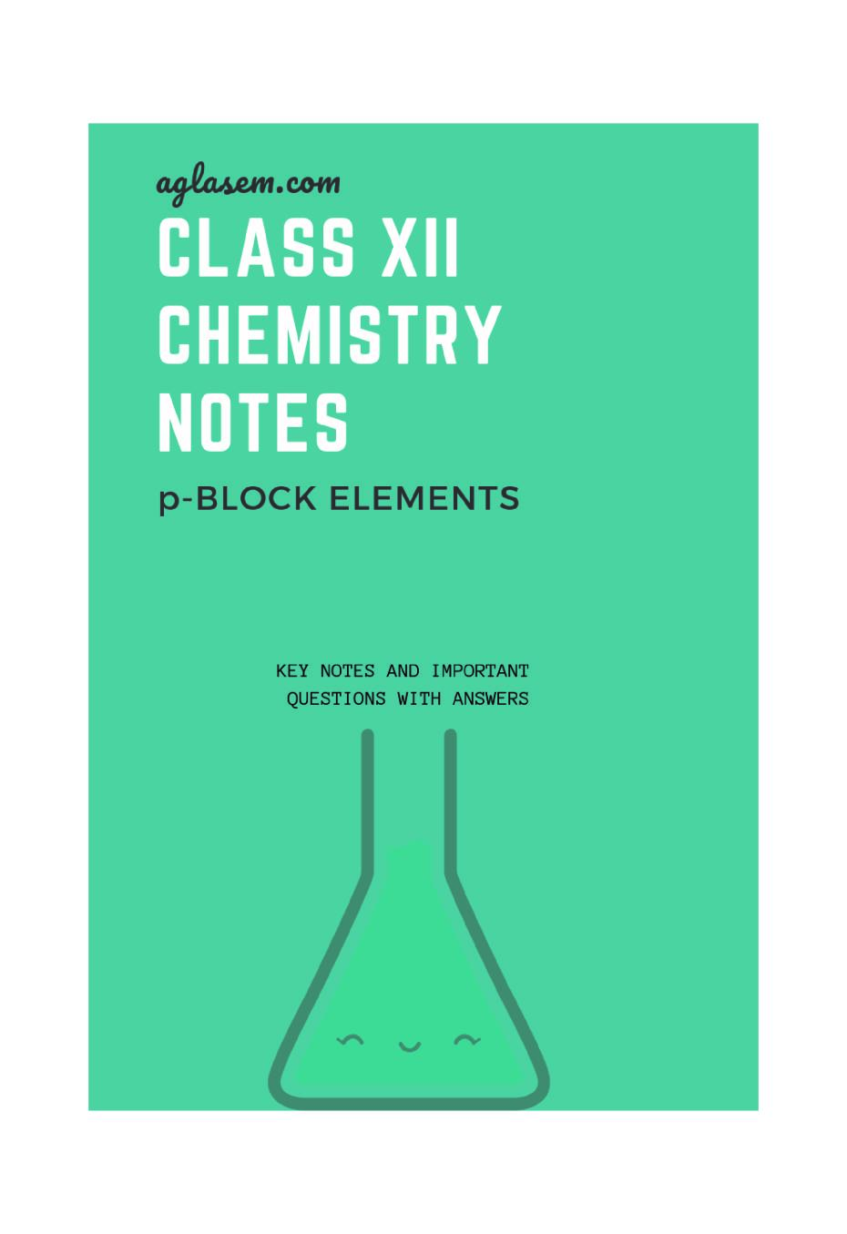 Class 12 Chemistry Notes for p-Block Elements