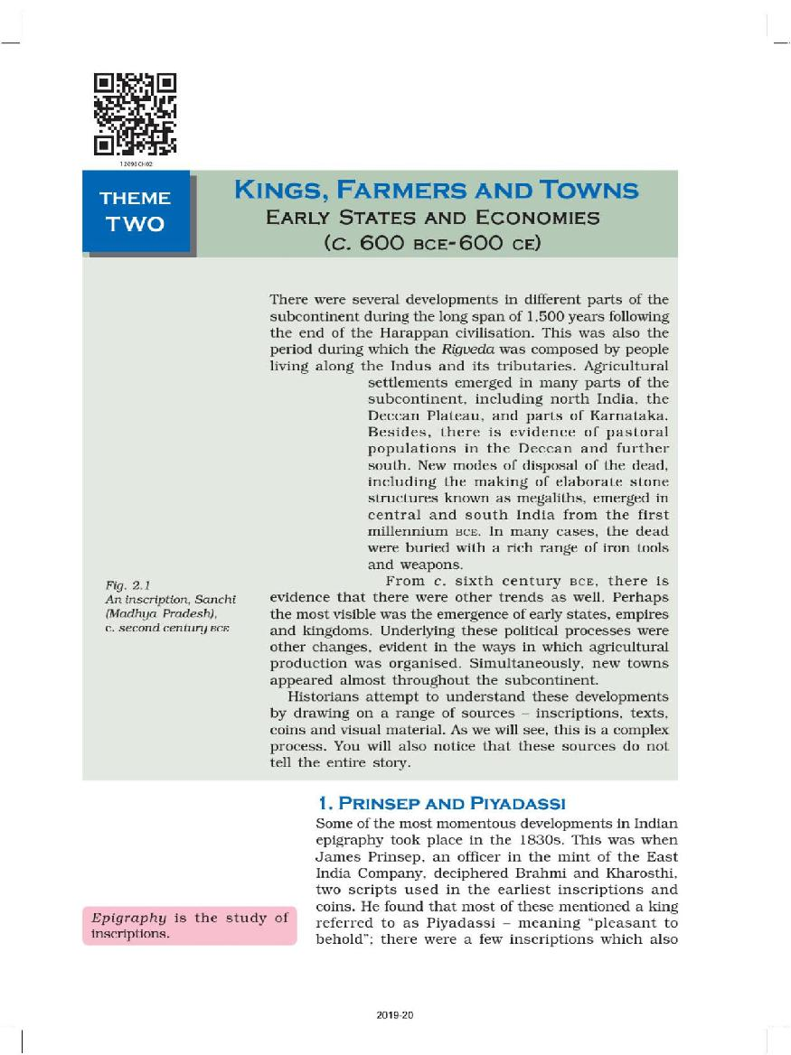 NCERT Book Class 12 History Chapter 2 Kings, Farmers and Towns