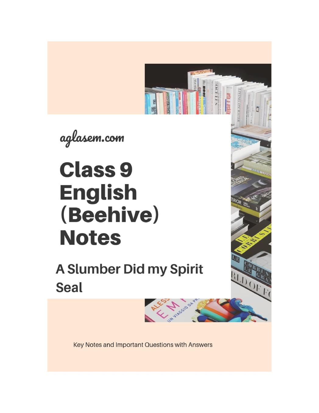 Class 9 English A Slumber did my Spirit Seal Notes, Important Question & Practice Paper