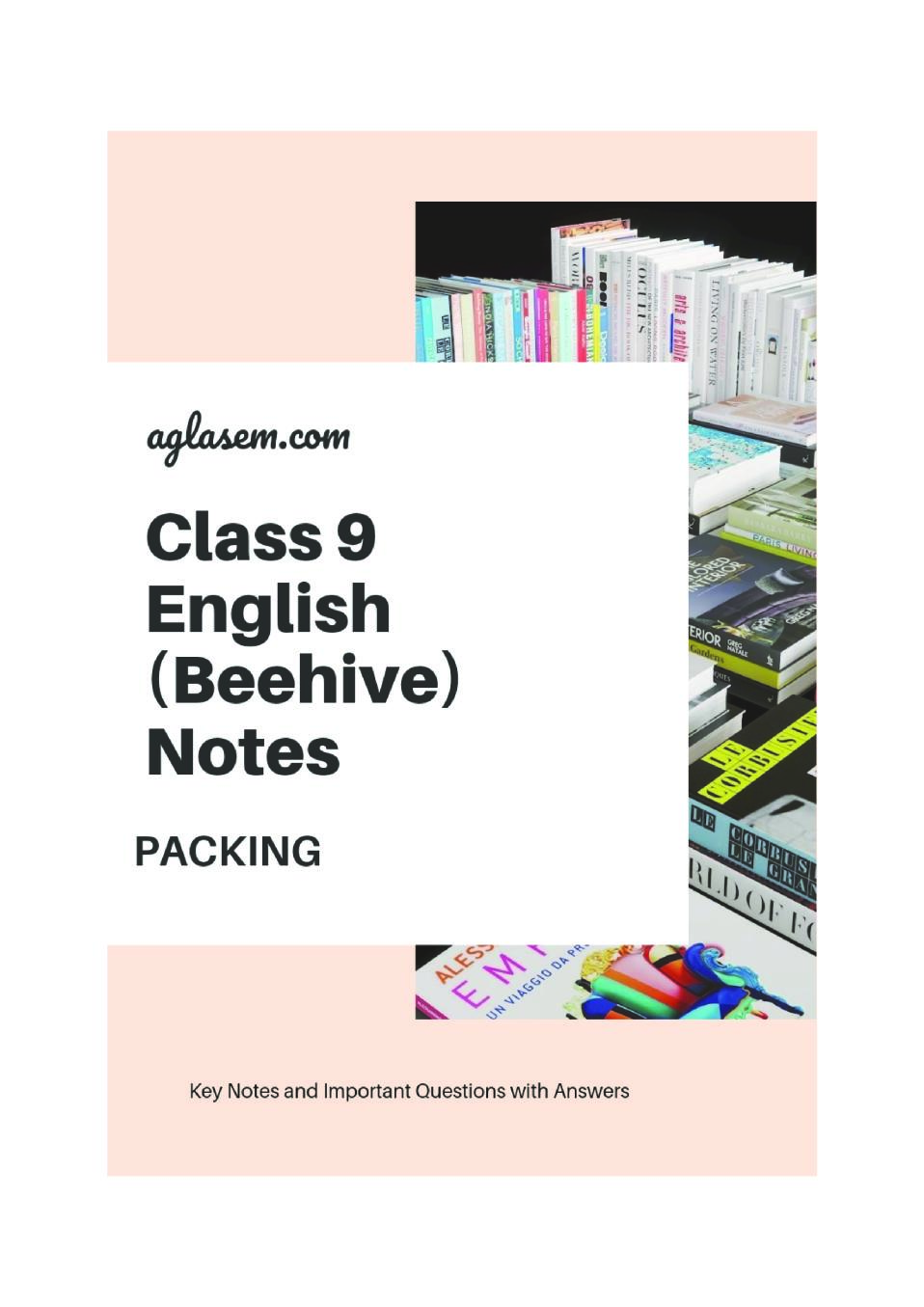 Class 9 English Packing Notes, Important Question & Practice Paper