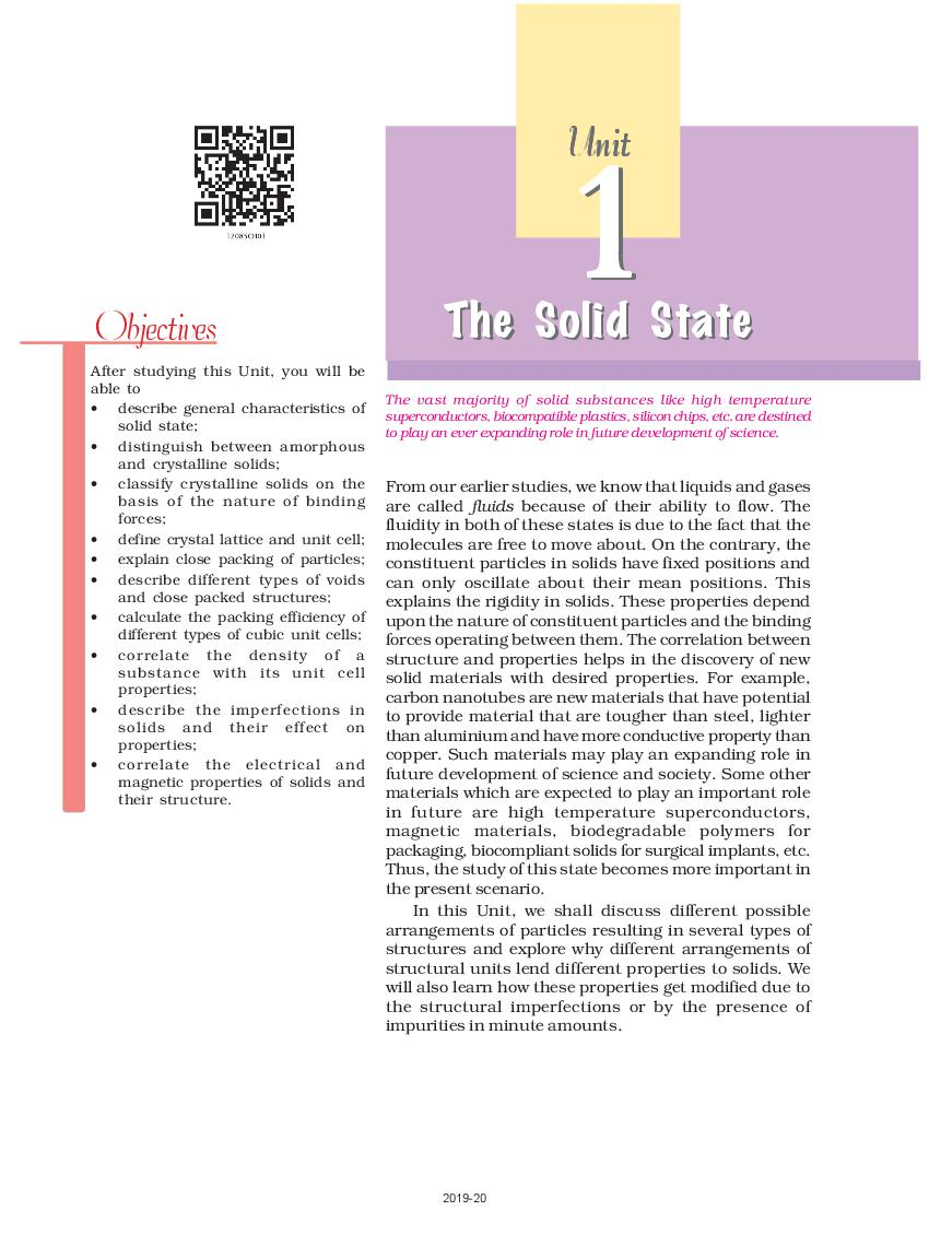 NCERT Book Class 12 Chemistry Chapter 1 The Solid State