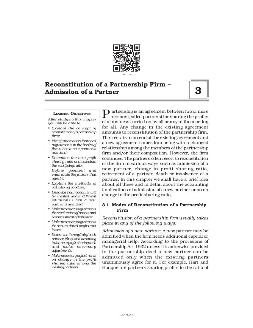 NCERT Book Class 12 Accountancy Chapter 3 Reconstitution of a Partnership Firm - Admission of a partner