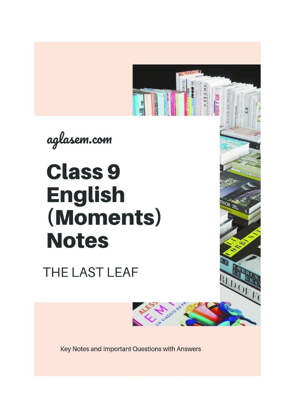 Class 9 English The Last Leaf Notes, Important Question & Practice Paper