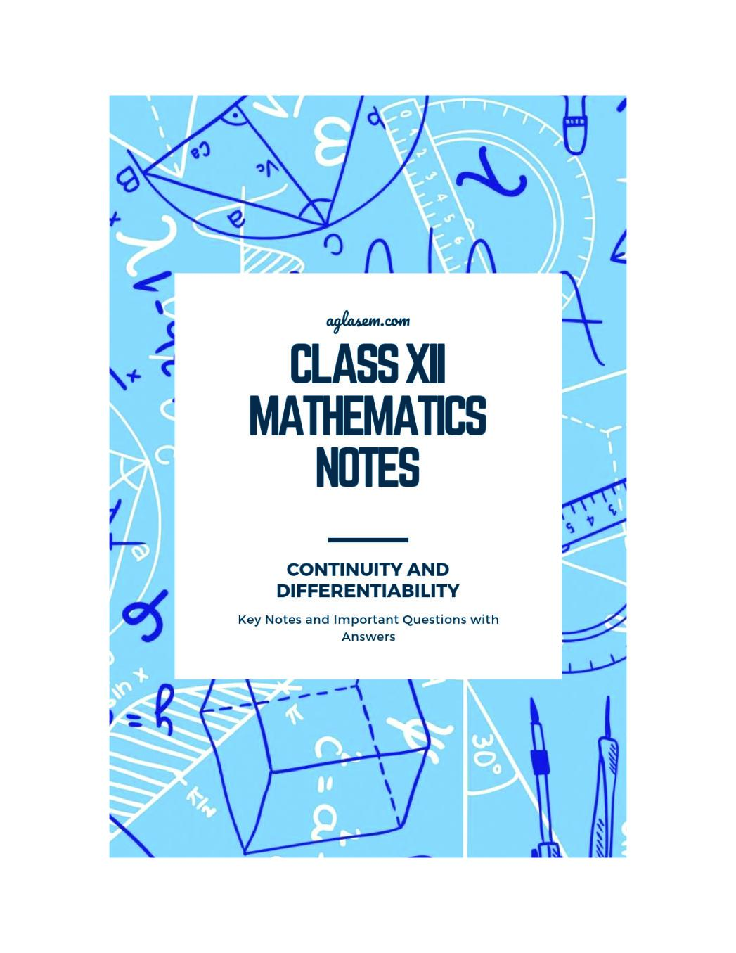 Class 12 Maths Notes for Continuity and Differentiability