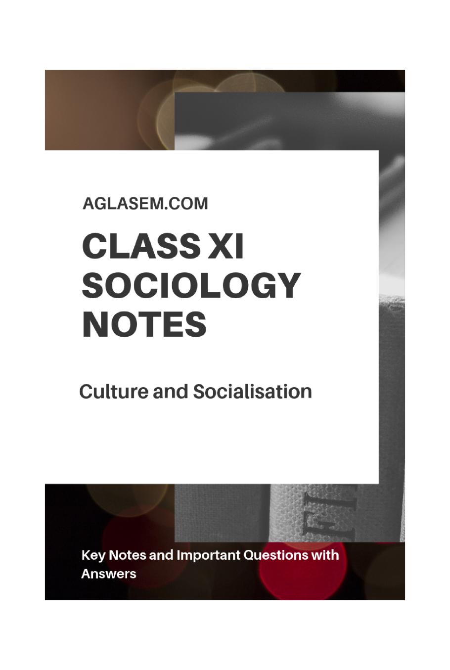 Class 11 Sociology Notes for Culture and Socialisation