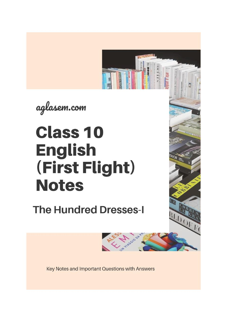Class 10 English The Hundred Dresses-I Notes, Important Questions & Practice Paper
