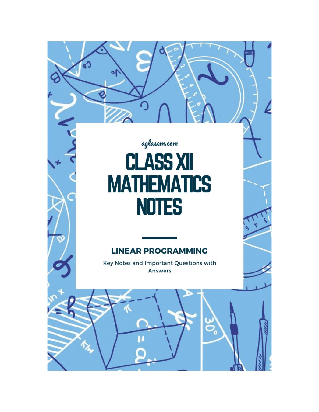 Class 12 Maths Notes for Linear Programming