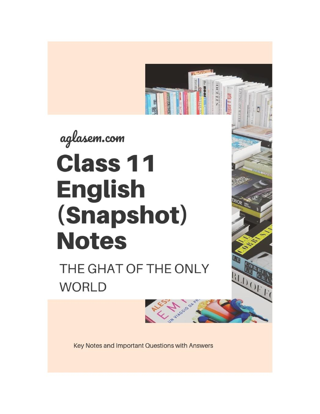 Class 11 English The Ghat of the Only World Notes, Important Questions & Practice Paper
