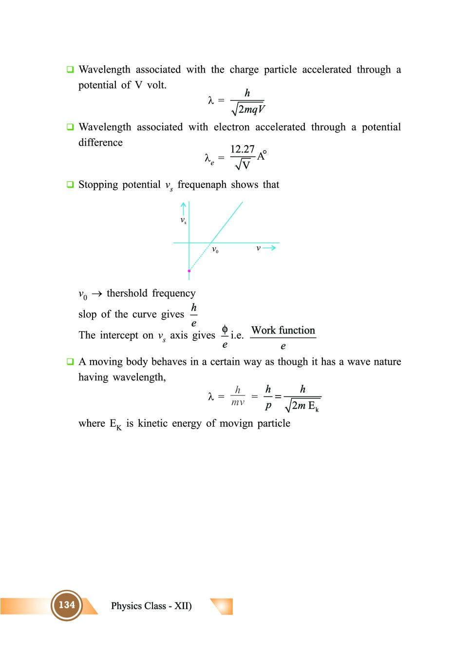Class 12 Physics Notes for Dual Nature of Radiation and
