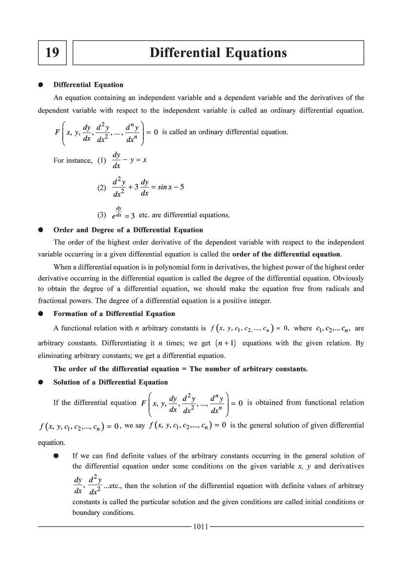 JEE Maths Question Bank for Differential Equation