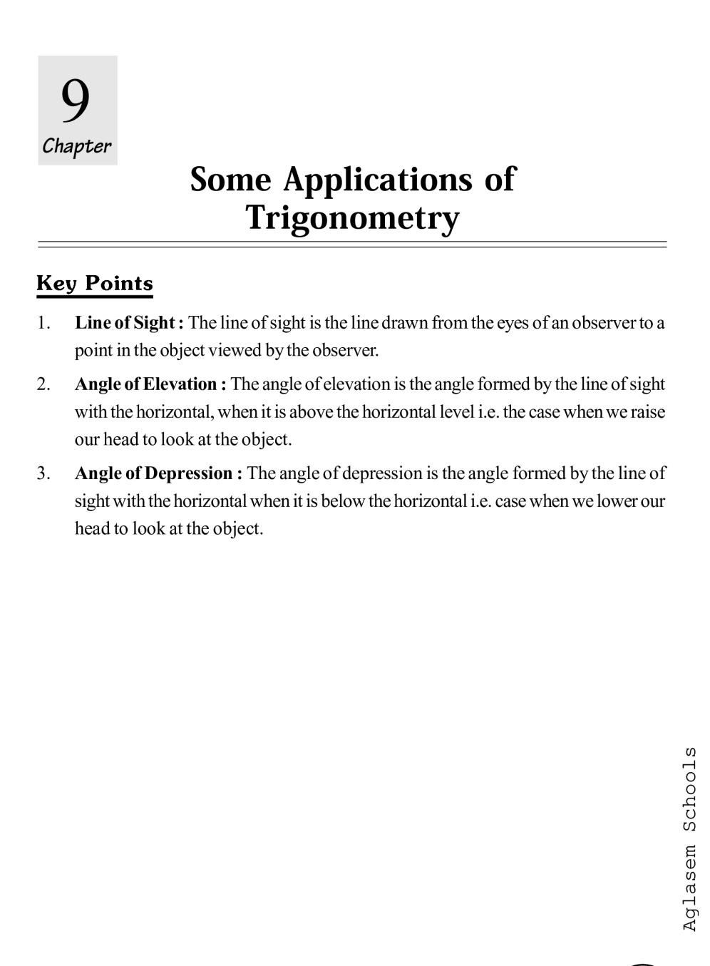 Class 10 Math Some Applications of Trigonometry Notes, Important