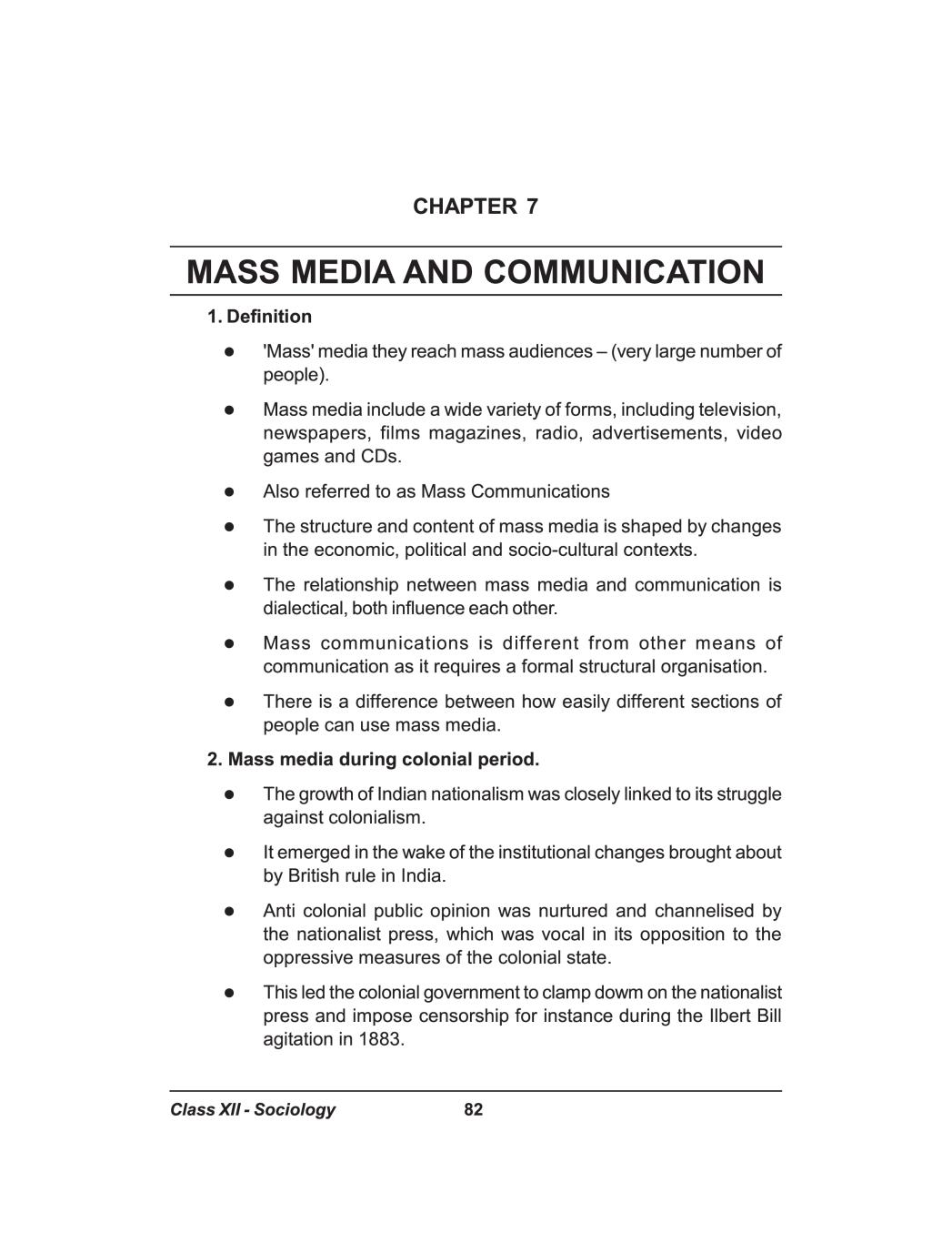 Class 12 Sociology Notes for Mass Media and Communication – AglaSem