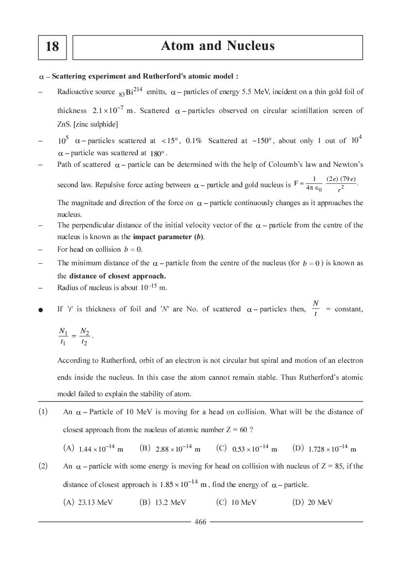 JEE NEET Physics Question Bank for Atom and Nucleus
