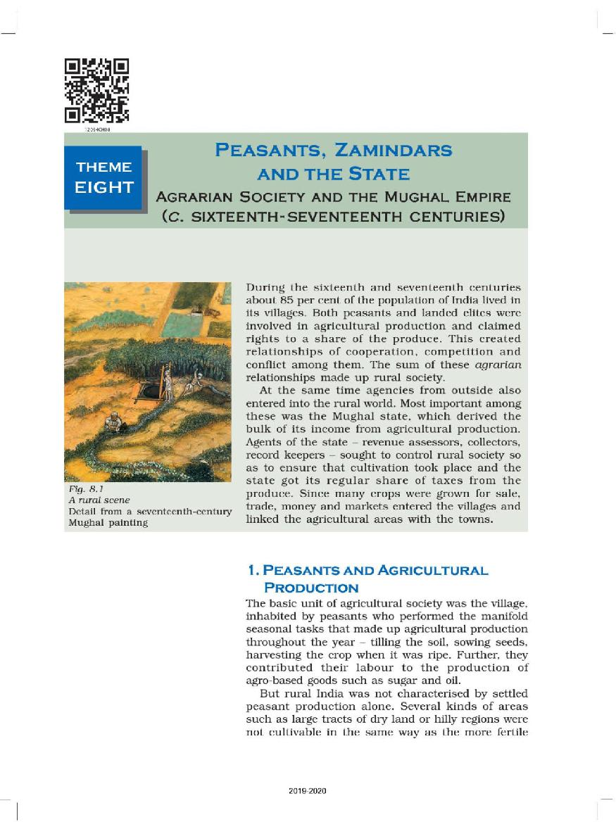 NCERT Book Class 12 History Chapter 8 Peasants, Zamindars and the State