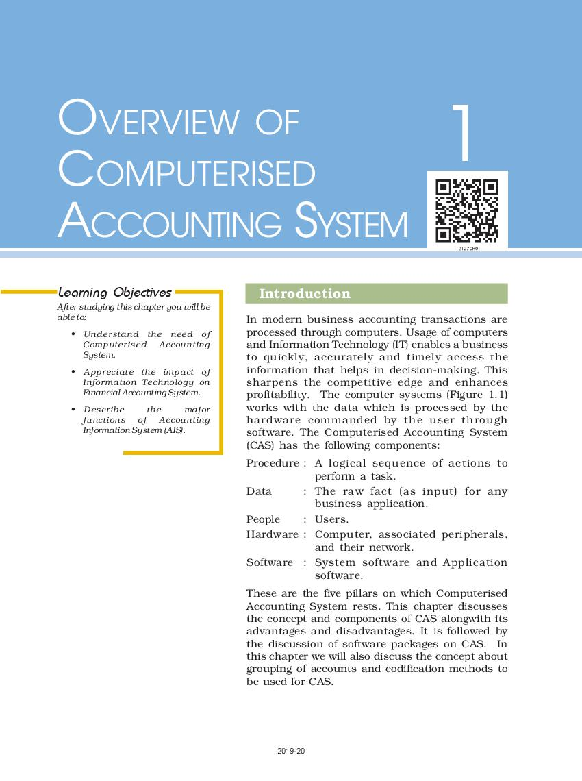 NCERT Book Class 12 Accountancy Computerised Accounting System Chapter 1 Overview of Computerised Accounting System