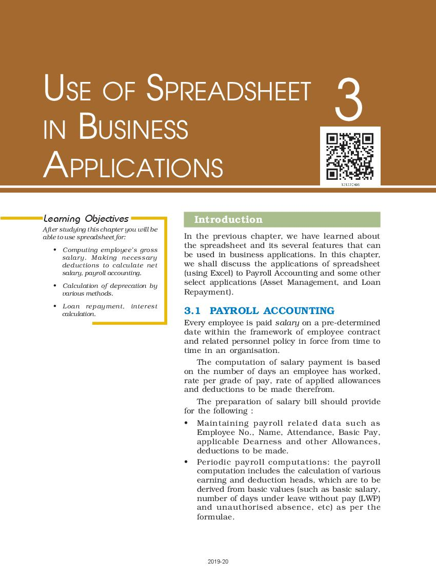 NCERT Book Class 12 Accountancy Computerised Accounting System Chapter 3 Use of Spreadsheet in Business Applications