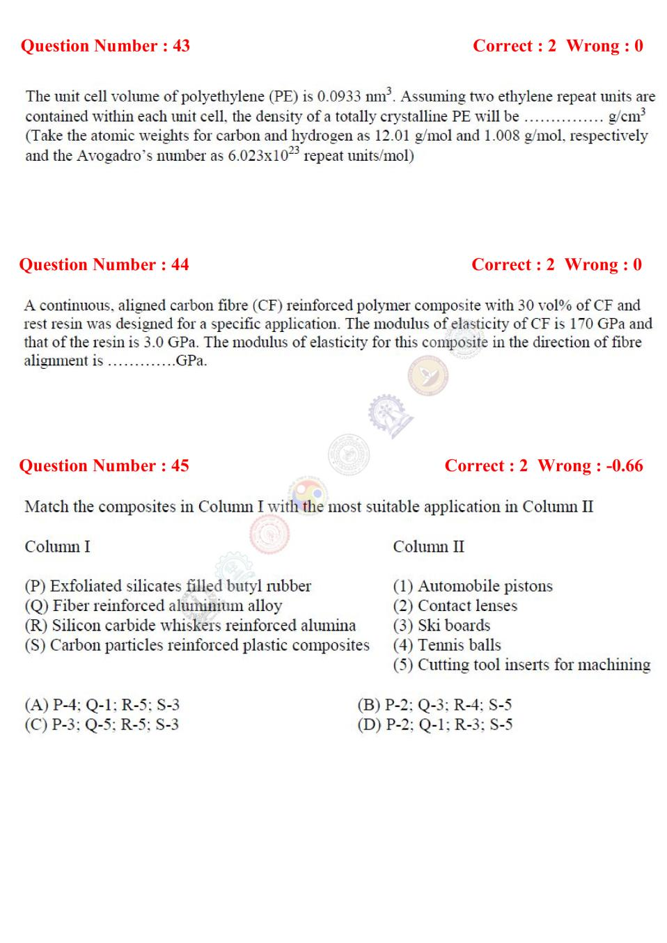 GATE 2017 Materials Science (XE - C) Question Paper with Answer
