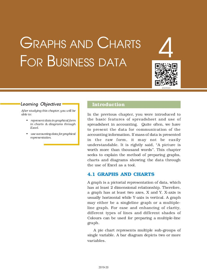 NCERT Book Class 12 Accountancy Computerised Accounting System Chapter 4 Graphs and Charts for Business Data