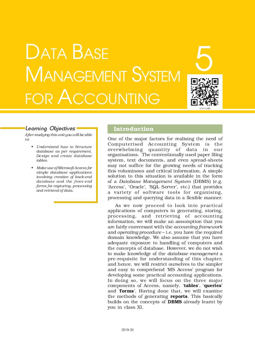NCERT Book Class 12 Accountancy Computerised Accounting System Chapter 5 Data Base Management System for Accounting