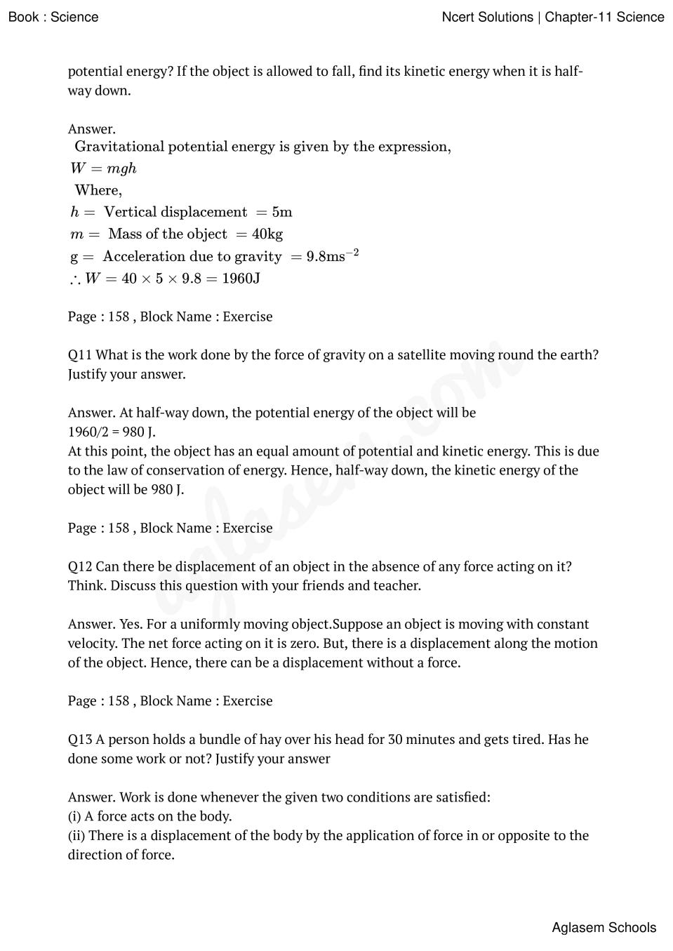 NCERT Solutions for Class 9 Science Chapter 11 Work And