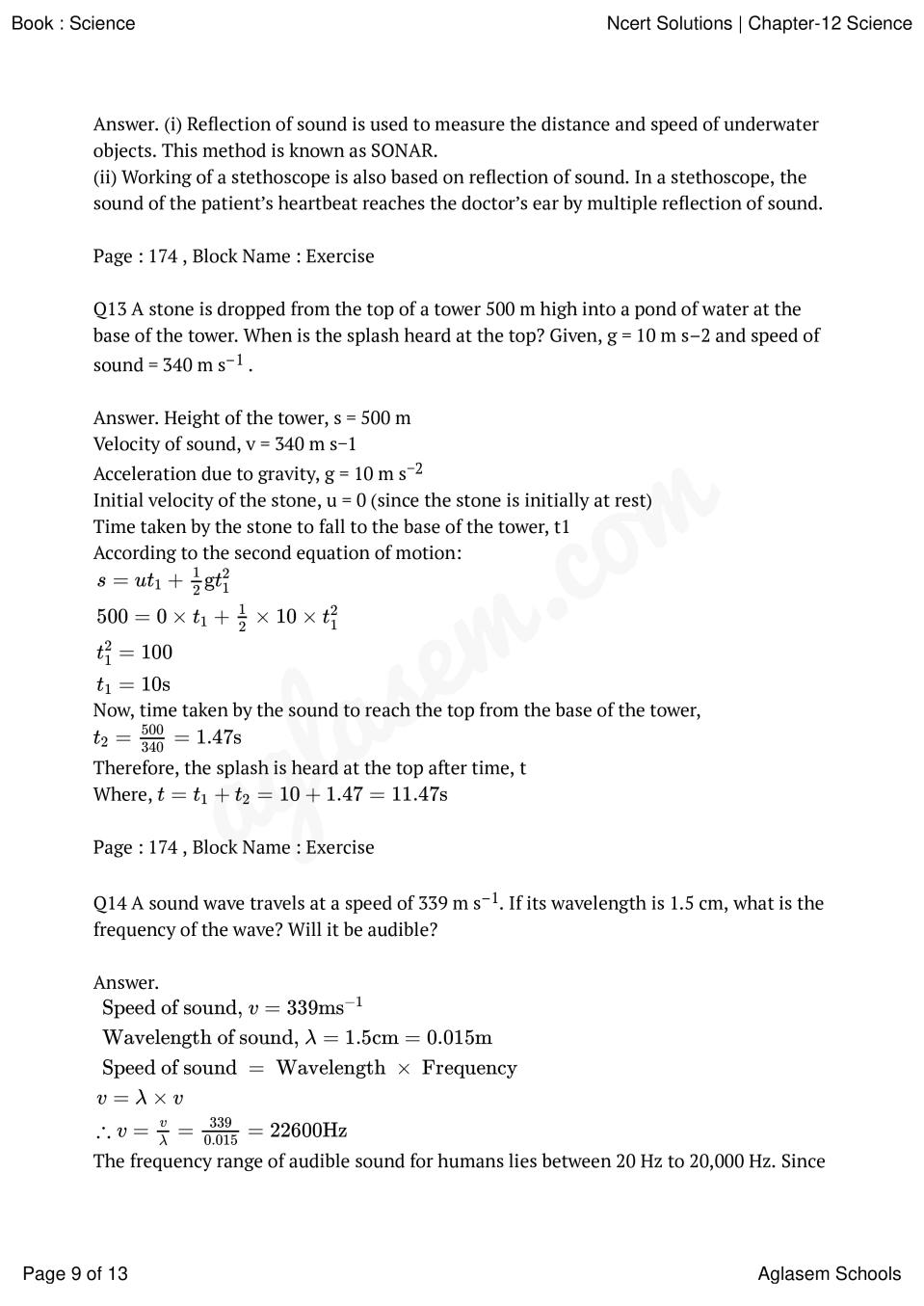 NCERT Solutions for Class 9 Science Chapter 12 Sound – NCERT