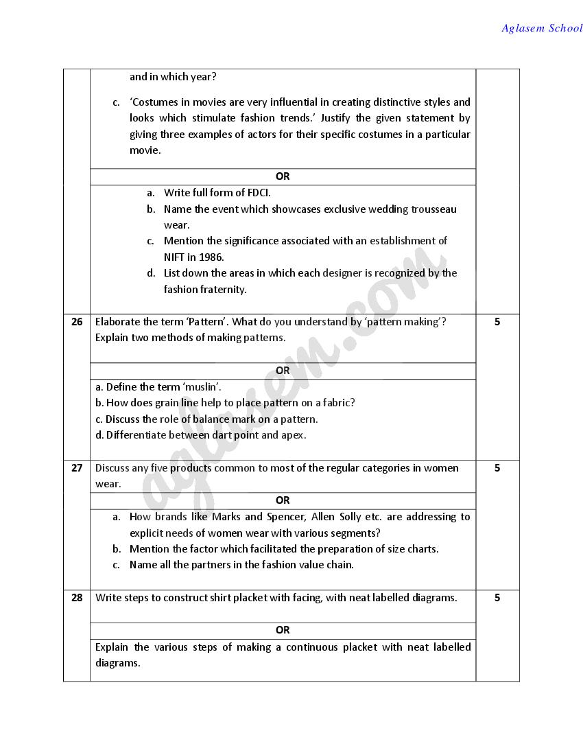 Cbse Sample Papers 2020 For Class 12 Fashion Studies Aglasem Schools