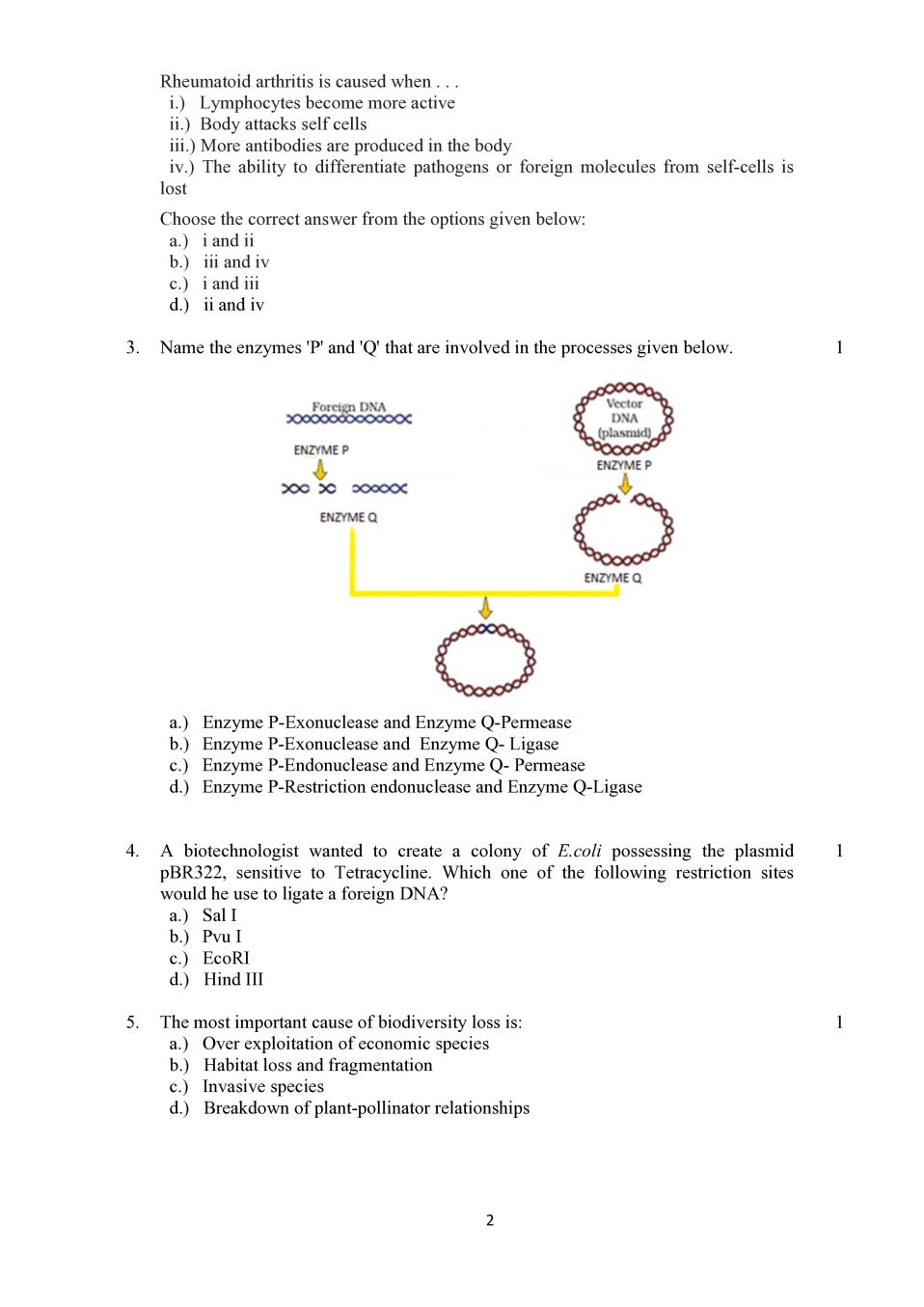 CBSE Sample Papers 2020 for Class 12 – Biology