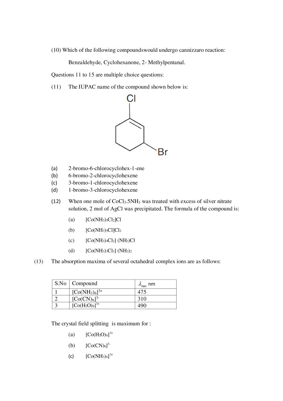 CBSE Sample Papers 2020 for Class 12 – Chemistry